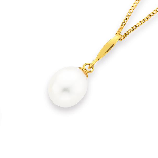 9ct 8mm Freshwater Pearl Drop Pendant