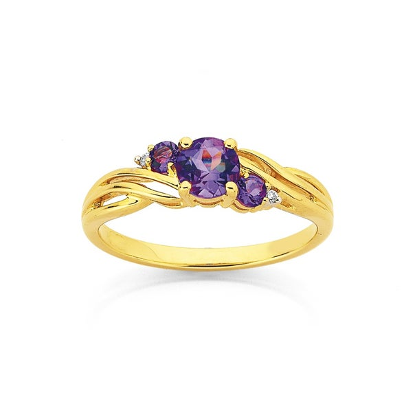 9ct Amethyst & Diamond Swirl Ring