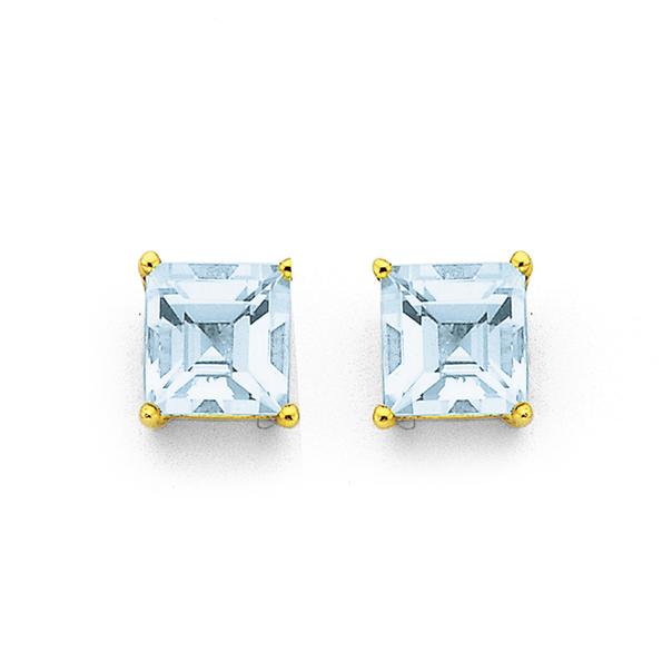 9ct Aquamarine Stud Earrings