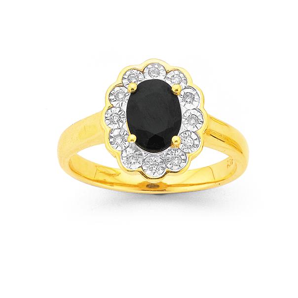 9ct Black Sapphire Oval Flower Frame Ring