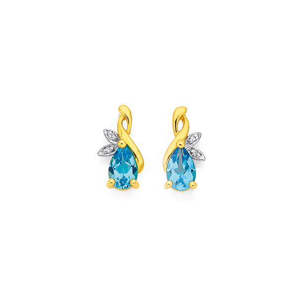 9ct Blue Topaz & Diamond Earrings