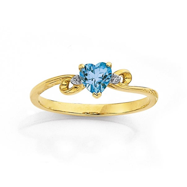 9ct Blue Topaz & Diamond Heart Ring