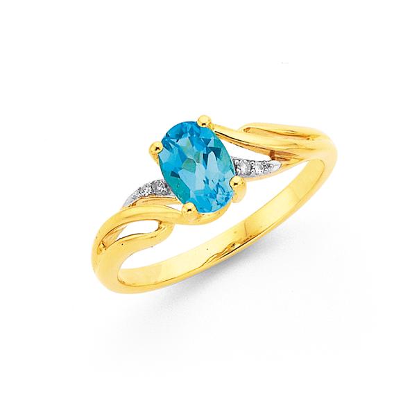 9ct Blue Topaz & Diamond Ring
