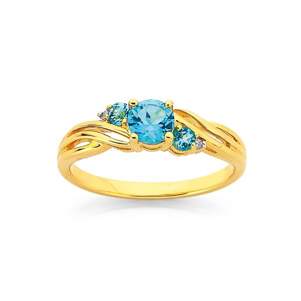 9ct Blue Topaz & Diamond Swirl Ring