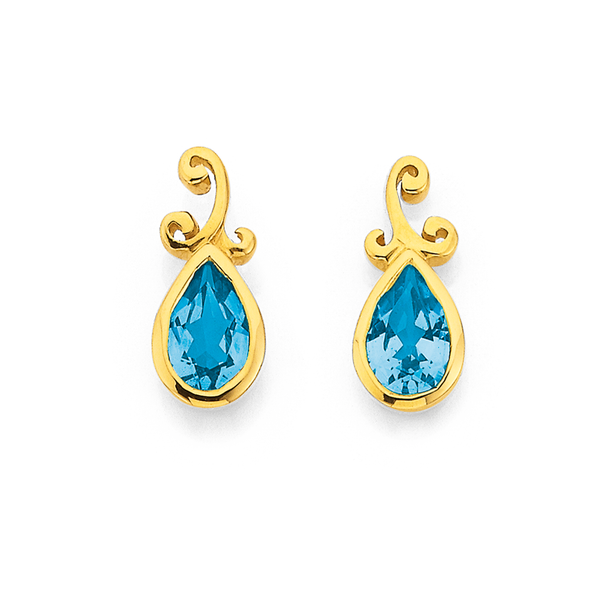 9ct Blue Topaz Filigree Earrings