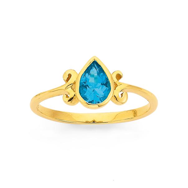 9ct Blue Topaz Filigree Ring
