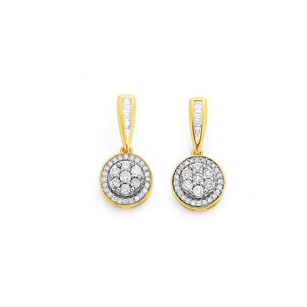 9ct Cluster Diamond Earrings TDW=.50ct