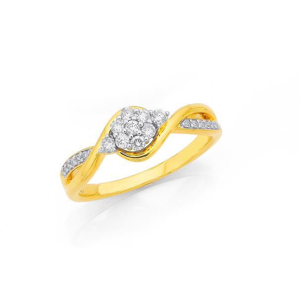 9ct Cluster Diamond Ring TDW=.25ct