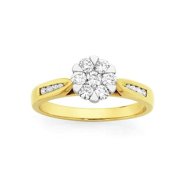 9ct Cluster Diamond Ring Total Diamond Weight=.50ct