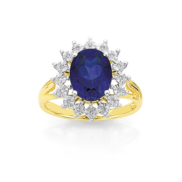 9ct, Created Blue Sapphire and Diamond Ring