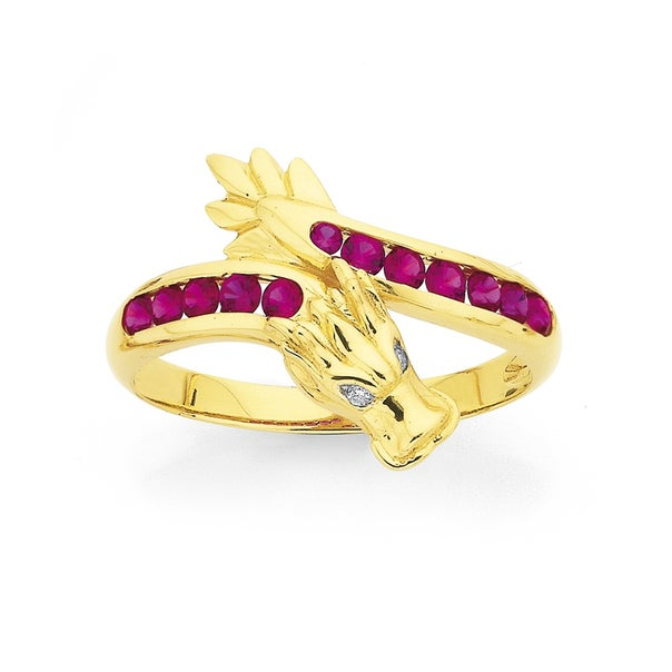 9ct Created Ruby and Diamond Dragon Ring