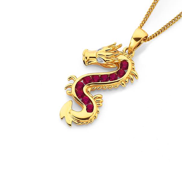 9ct Created Ruby & Diamond Dragon Pendant