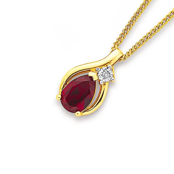 9ct Created Ruby & Diamond Pear Shape Pendant