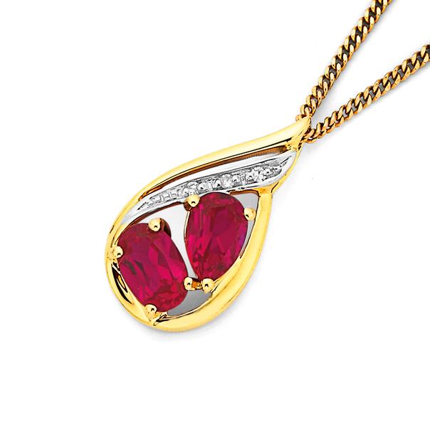 9ct Created Ruby & Diamond Set Pendant