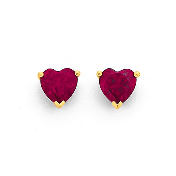 9ct Created Ruby Heart Stud Earrings