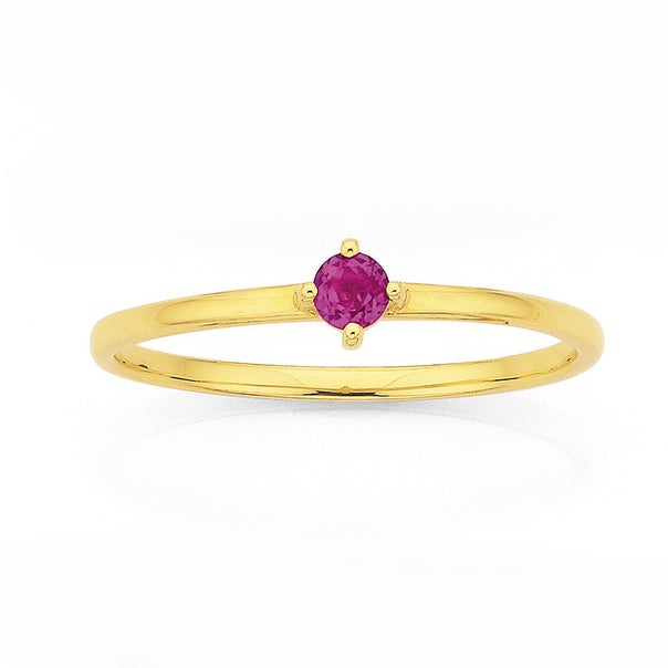 9ct Created Ruby Love Ring