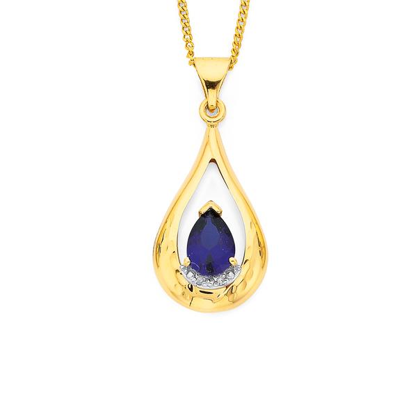 9ct Created Sapphire and Diamond Pendant