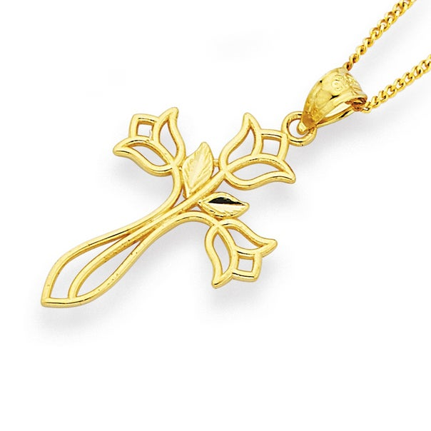 Flower Cross Pendant in 9ct Yellow Gold