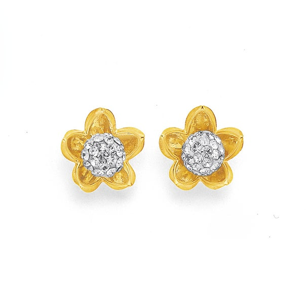 9ct Crystal Flower Studs