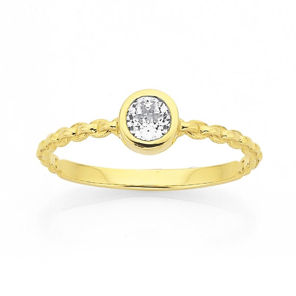 9ct Cubic Zirconia Chain Link  Ring