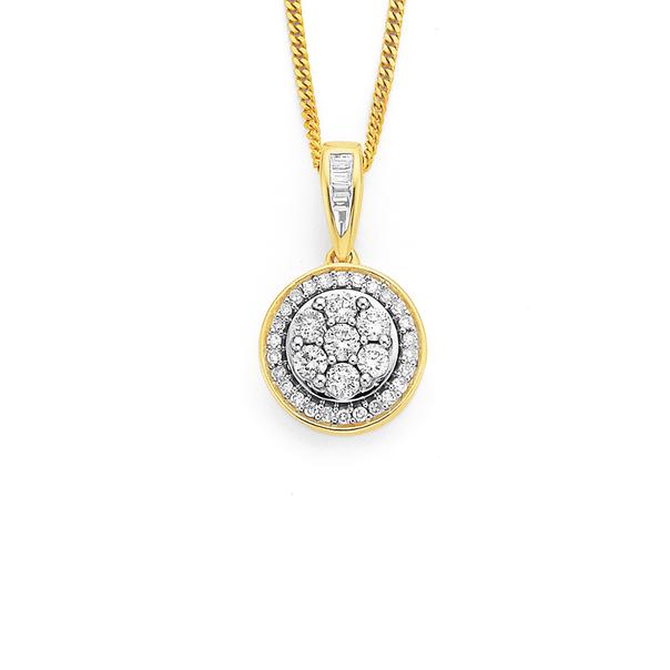 9ct Diamond Cluster Pendant TWD=.34ct
