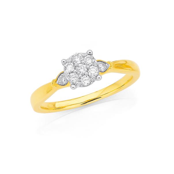 9ct Diamond Cluster Ring TDW=.25ct