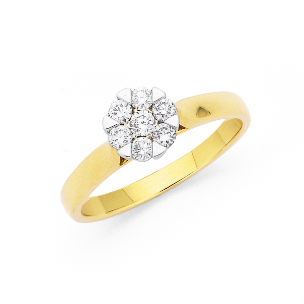 9ct Diamond Cluster Ring TDW=.33ct