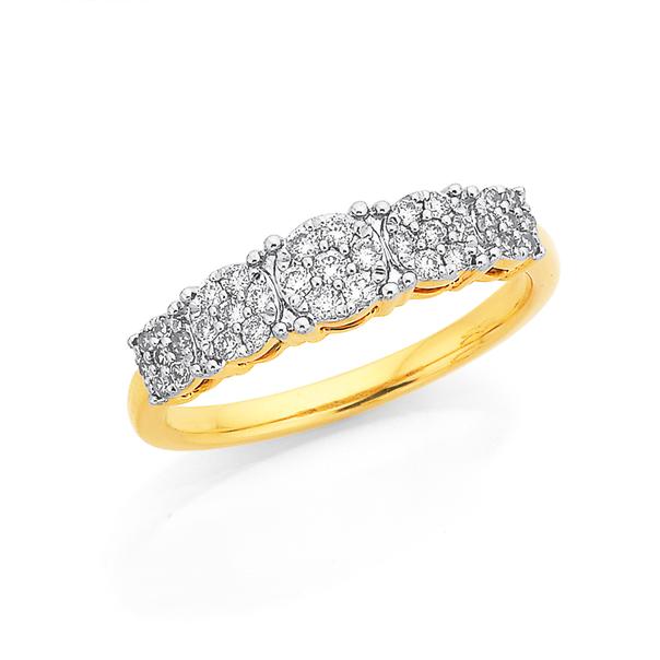 9ct Diamond Cluster Ring TDW=.34ct
