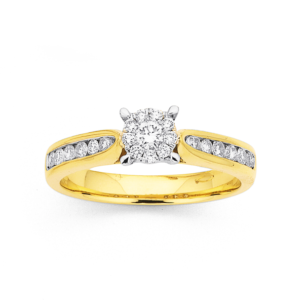 9ct Diamond Cluster Ring TDW=.40ct