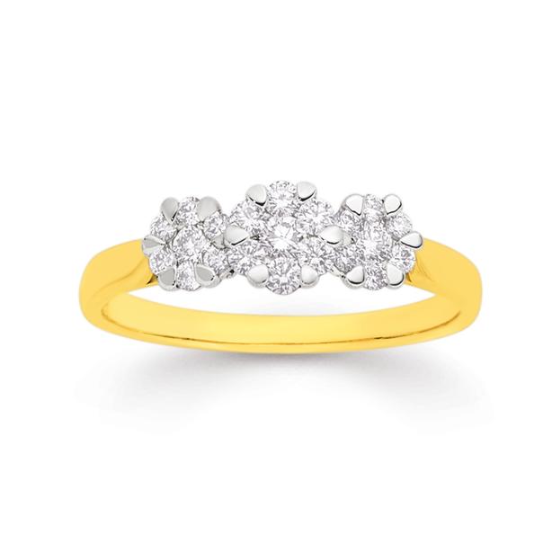 9ct Diamond Cluster Ring TDW=.50ct
