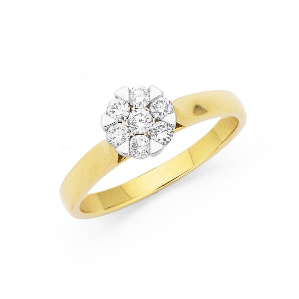 9ct, Diamond Cluster Ring Total Diamond Weight=.33ct