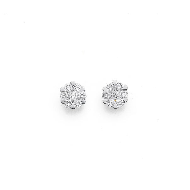 9ct, Diamond Cluster Studs