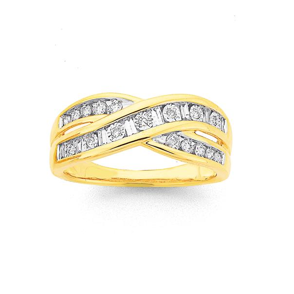 9ct Diamond Crossover Dress Ring TDW=.34ct