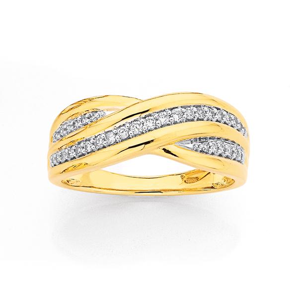 9ct Diamond Crossover Ring TDW=.20ct