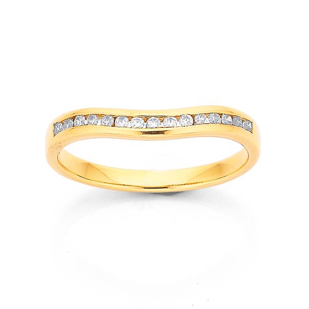 9ct Diamond Curve Band TDW=.15ct