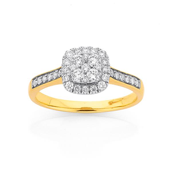 9ct Diamond Cushion Halo Cluster Ring TDW=.50ct