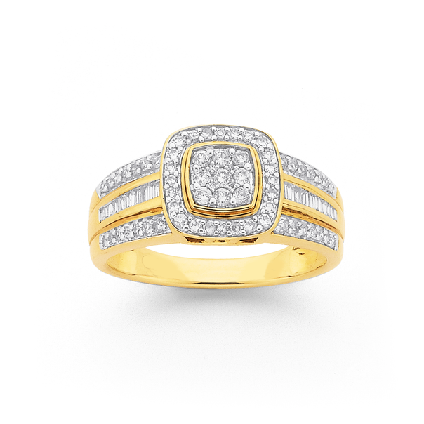 9ct Diamond Cushion Shape Ring TDW=.50ct