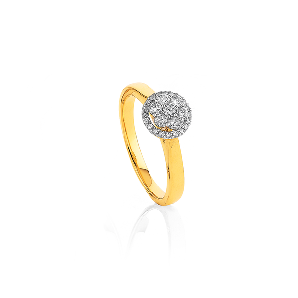 9ct Diamond Halo Cluster Ring TDW=.34ct