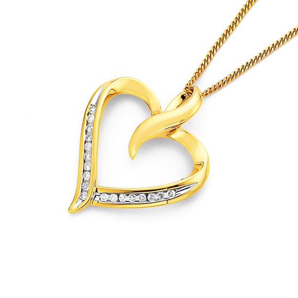 9ct Diamond Heart Pendant TDW=.25ct