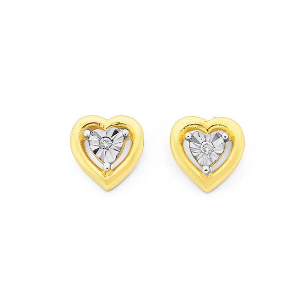 9ct Diamond Heart Stud Earrings