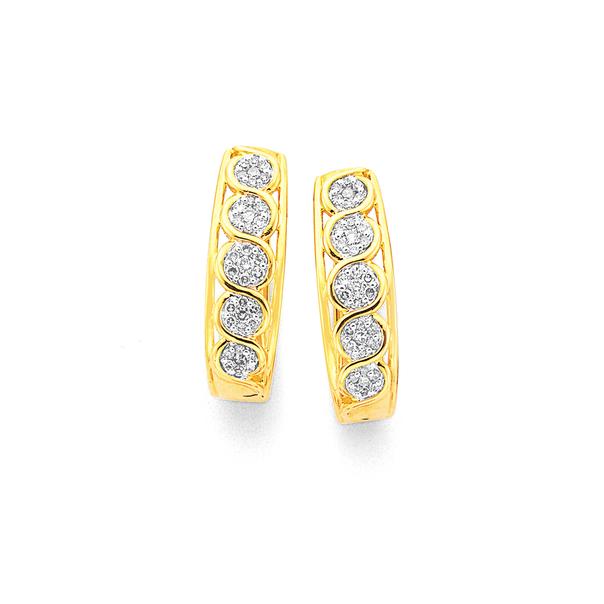 9ct Diamond Huggie Earrings TDW= . 25ct