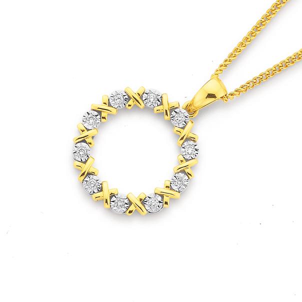 9ct Diamond Hugs and Kisses Circle Pendant