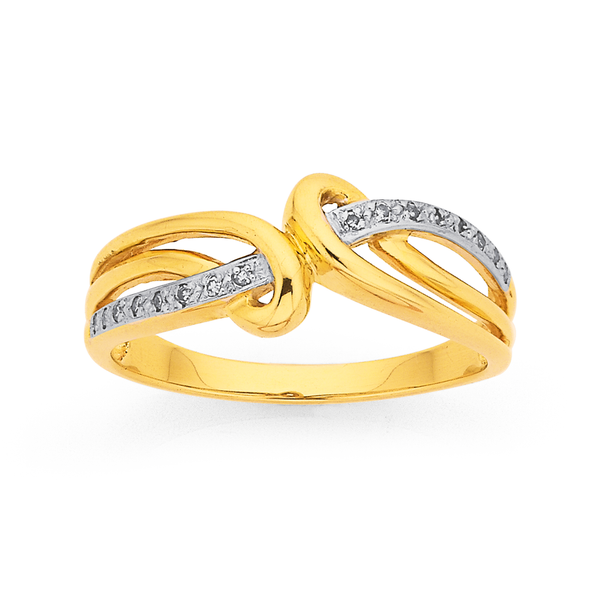9ct Diamond Loops Swirl Ring
