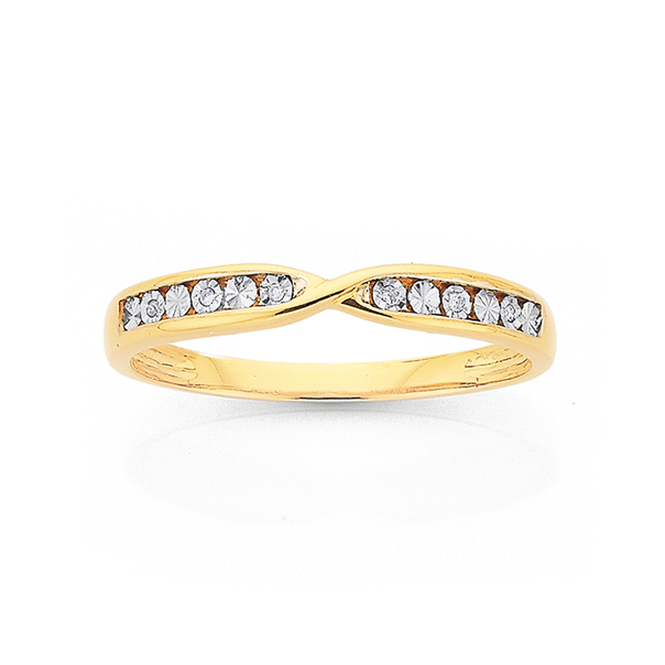 9ct Diamond Miracle Set Crossover Band