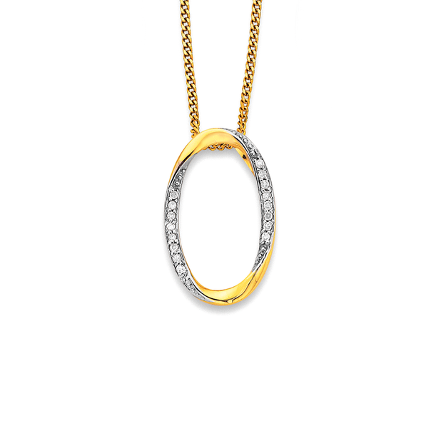 9ct Diamond Oval Pendant