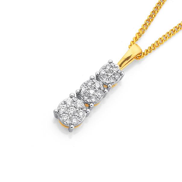 9ct, Diamond Pendant TDW=.15ct