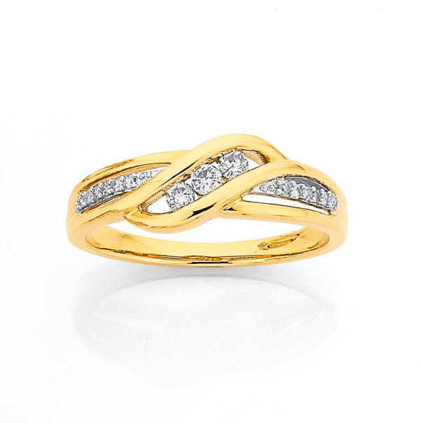 9ct Diamond Ring TDW=.18ct