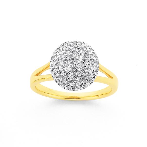9ct Diamond Round Cluster Ring TDW=.50ct