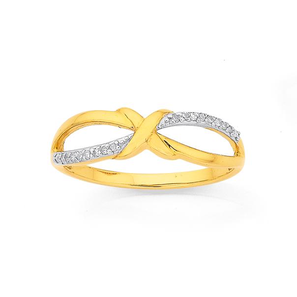 9ct, Diamond Set Crossover Ring