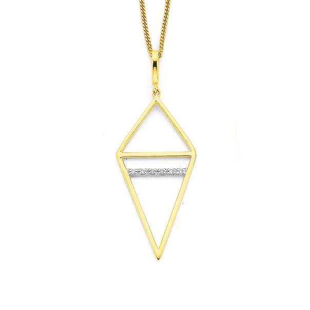 9ct, Diamond Set Geometric Pendant